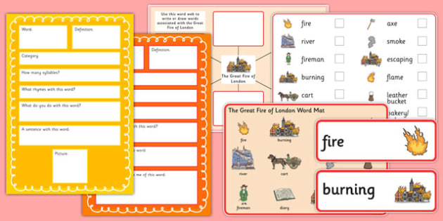 The Great Fire of London Pre-Teaching Vocabulary Pack - great fire of london, pre-teaching, pack
