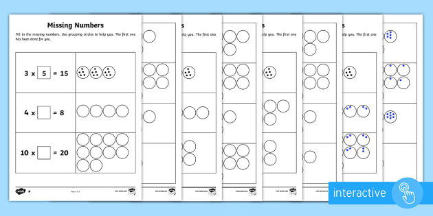 Year 2 Maths Times Tables Missing Numbers Homework Activity