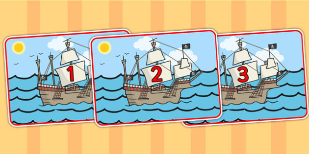Pirate Ship Number Line Posters - pirates, pirate ship, number line, numberline, numbers, posters, number line posters, display poster, posters for display