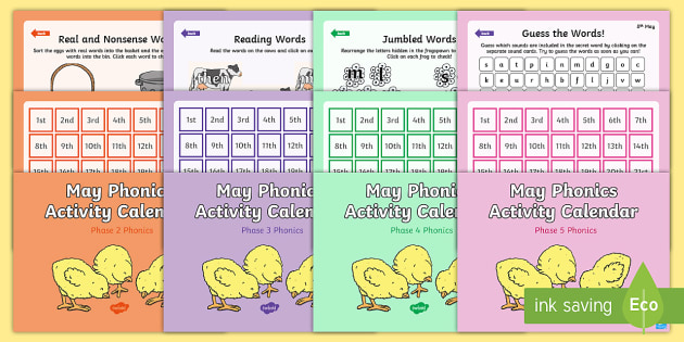 May Phonics Activity Calendar Powerpoint Pack  Phase  Phase