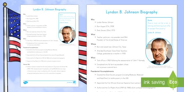 Lyndon B. Johnson Fast Facts  Fact File - American Presidents, American History, Social Studies, Barack Obama, Lyndon B. Johnson, Franklin D.