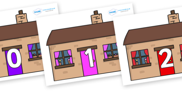 Numbers 0-31 on Houses - 0-31, foundation stage numeracy, Number recognition, Number flashcards, counting, number frieze, Display numbers, number posters