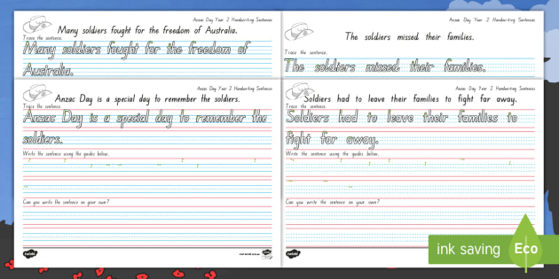 Anzac Day Year 2 Handwriting Worksheets - Fine motor ...