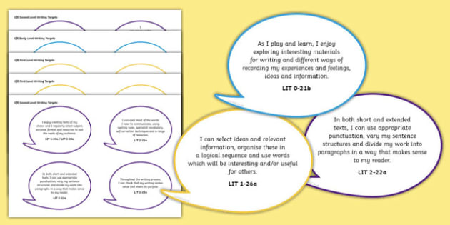Scottish CfE Early, First and Second Level English Writing Assessment I Can Speech Bubbles - cfe, curriculum for excellence, early, first, second, level, english, writing, write, assessment, i can, speech bubble