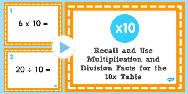 Multiplication Division Facts for 10 Times Table PowerPoint Test