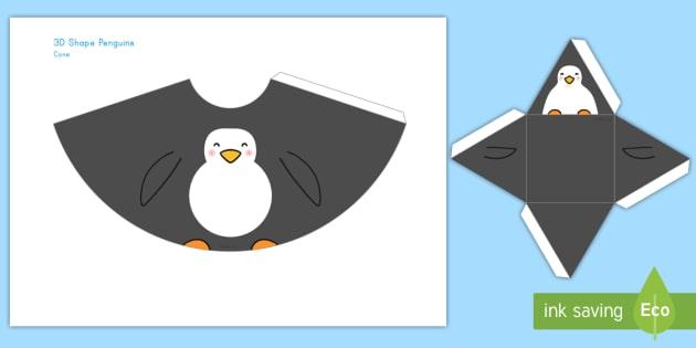 Penguin 3d Shapes Paper Craft Penguin 3d Shapes Paper Craft