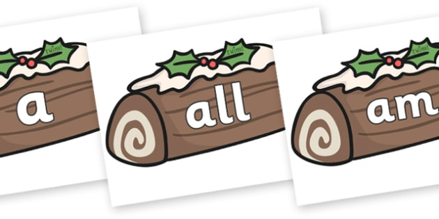Foundation Stage 2 Keywords on Christmas Logs - FS2, CLL, keywords, Communication language and literacy,  Display, Key words, high frequency words, foundation stage literacy, DfES Letters and Sounds, Letters and Sounds, spelling