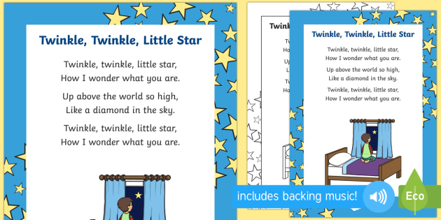 Twinkle Little Star Rhyme Sheet
