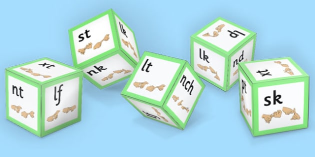 Phase 4 Final Blends Sound Dice Nets with British Sign Language - dice