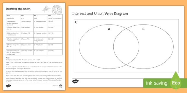 Intersect And Union Venn Diagram Game Venn Diagrams Sets