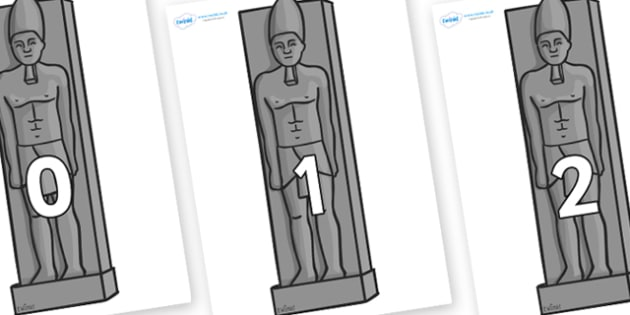 Numbers 0-31 on Egyptain Statues - 0-31, foundation stage numeracy, Number recognition, Number flashcards, counting, number frieze, Display numbers, number posters