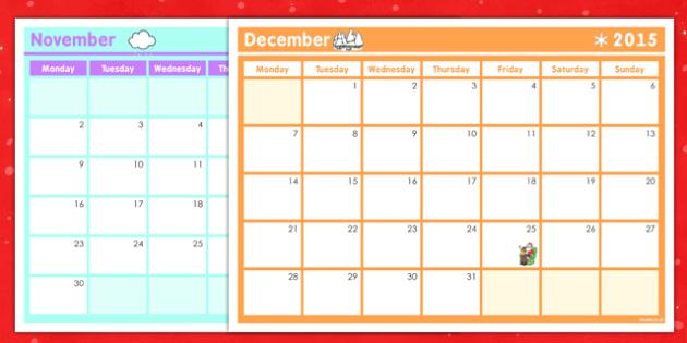 Christmas Calendar Planner Template - christmas, calendar, planner, template