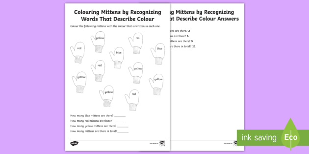 Mitten Colouring Activity - Winter Resources, mittens, colours, colouring, art, language, math, number sense and numeration.
