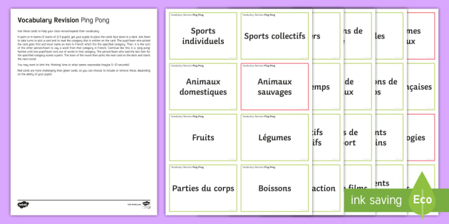 Ping Pong Vocabulary Revision Challenge Cards French - French, End of Year Activities, revision, révision, vocabulaire, vocabulary,French