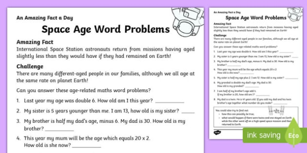 Space Age Word Problems Worksheet / Activity Sheet, worksheet
