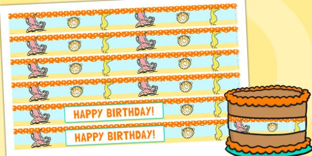 Under the Sea Themed Birthday Party Cake Ribbon - birthdays