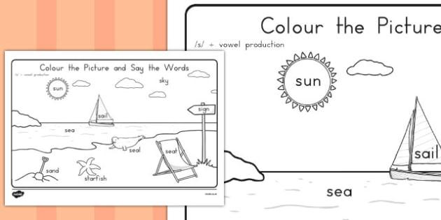 Word Inital s Production Colouring Scene - phonics, australia, colour, fine motor skills, english