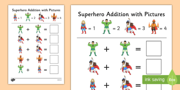 Superheroes Themed Addition with Pictures Activity Sheet Pack - superheoes, themed, addition, pictures, activity, sheets, worksheet