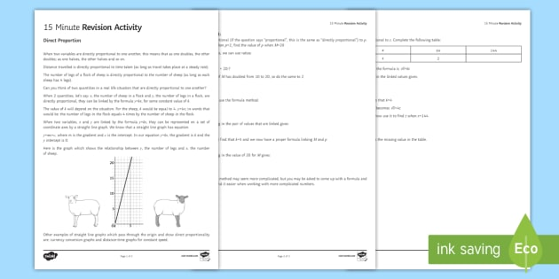 15 Minute Revision Activities Direct Proportion Worksheet
