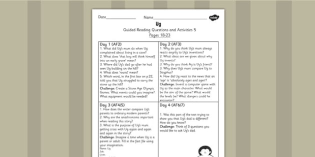 Guided Reading Questions Pages 18-23 to Support Teaching on Ug - ug, guided reading