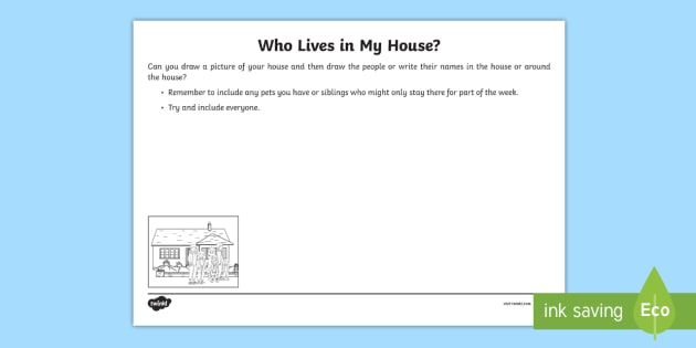 Who Lives In My House Worksheet Worksheet Families Young People