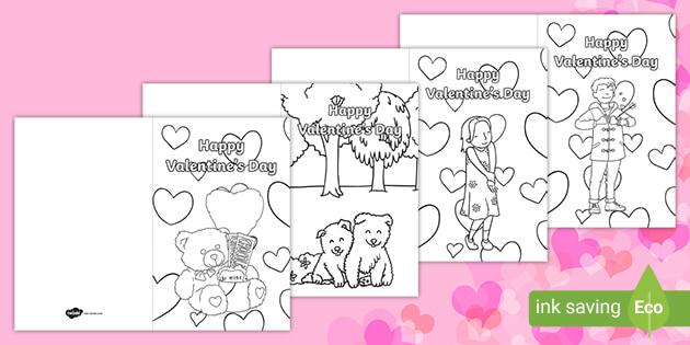 - Valentine's Day Coloring Cards - Valentine Heart Fine Motor