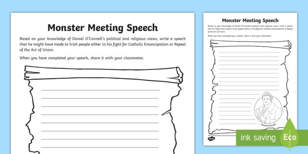 Monster Meeting Speech Writing Worksheet - Politics, change ...