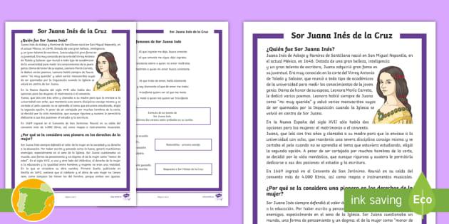 Hoja Informativa Sor Juana Inés De La Cruz Y Sus Poemas