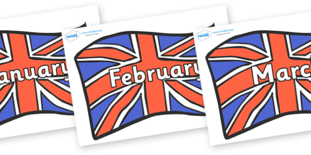 Months of the Year on British Flags - Months of the Year, Months poster, Months display, display, poster, frieze, Months, month, January, February, March, April, May, June, July, August, September