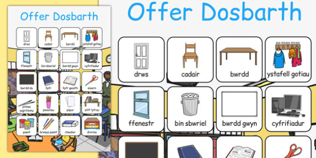 Offer Dosbarth Vocabulary Poster Cymreag - cymraeg, welsh, wales, classroom objects, classroom, objects, vocabulary, poster