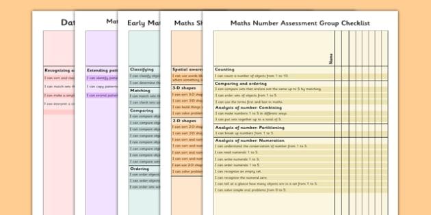 1999 Curriculum Junior Infants Maths Assessment Group Checklist Pack - roi, irish, gaeilge, assessment checklist, maths, junior infants, pack