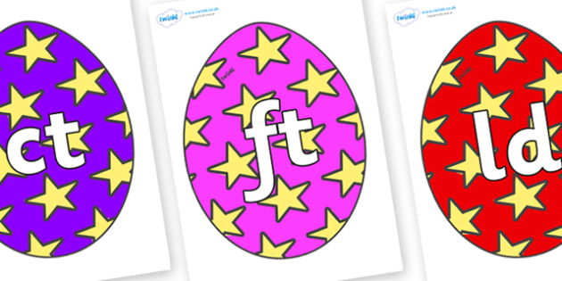 Final Letter Blends on Easter Eggs (Stars) - Final Letters, final letter, letter blend, letter blends, consonant, consonants, digraph, trigraph, literacy, alphabet, letters, foundation stage literacy