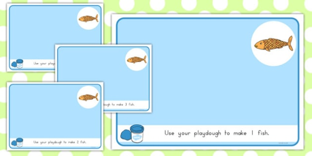 Basic Counting Fish Playdough Mats - role play, making, maths, early years, australia, independent