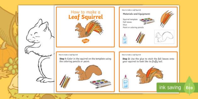 Leaf Squirrel Craft Instructions - usa, america, Autumn, seasons, september, october, topics, ks1, harvest, EYFS, reception, craft, creative, leaves, leaf, squirrel, animal , forest, nocturnal
