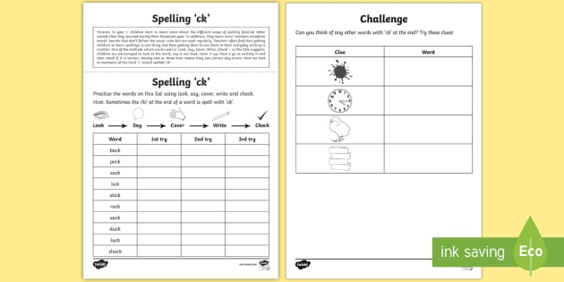 Year 1 Spelling Practice 'ck' Homework Worksheet / Worksheet ...