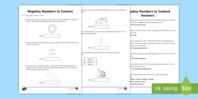Use Negative Numbers In Context No.2 Worksheet / Worksheet - maths