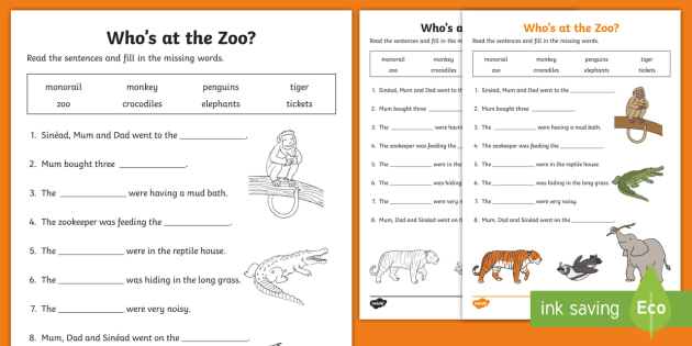 who 39 s at the zoo fill in the blanks worksheet activity sheet. Black Bedroom Furniture Sets. Home Design Ideas