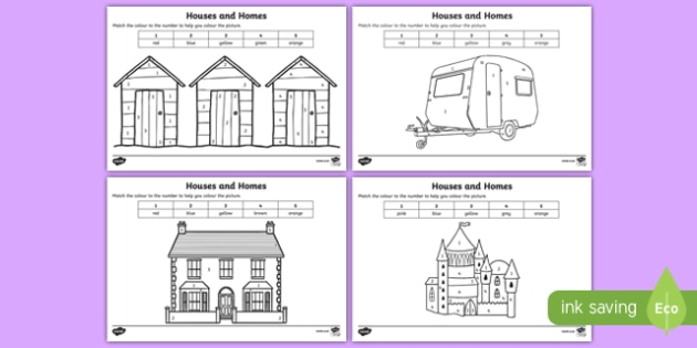 Houses and Homes Colour by Number