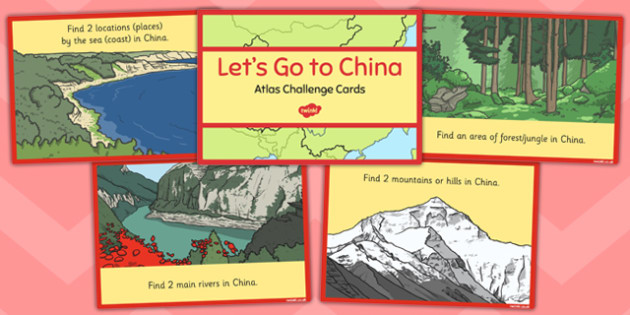 Let's Go to China Atlas Challenge Cards - china, atlas, challenge