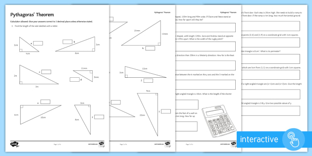 Pythagoras Theorem Problem Solving Worksheet Activity Sheets