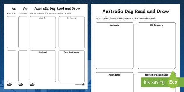 Australia Day Read and Draw Worksheet - worksheets, celebration