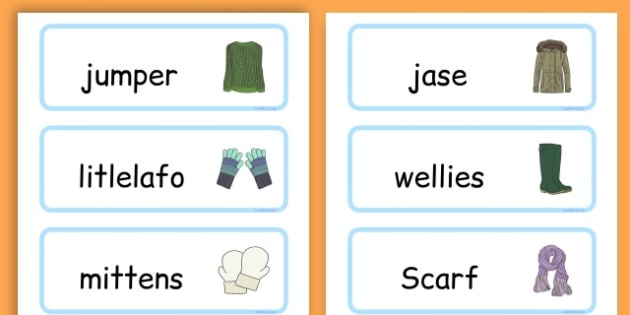 Winter Clothes Word Cards - winter clothes, word cards, winter, clothes - Sesotho