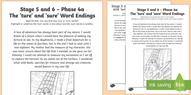 Northern Ireland Linguistic Phonics Stage 5 and 6, Phase 4a, 'ture' and 'sure' Word Endings Activity Sheet  - Linguistic Phonics, Stage 5, Stage 6, Phase 4a, Northern Ireland, 'ture', 'sure', worksheet, s