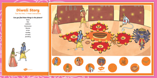 Diwali Story Can you Find...? Poster and Prompt Card Pack