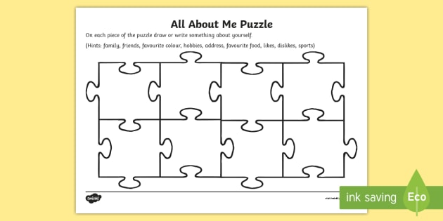 All About Me Puzzle Worksheet Activity Sheet Puzzle Jigsaw