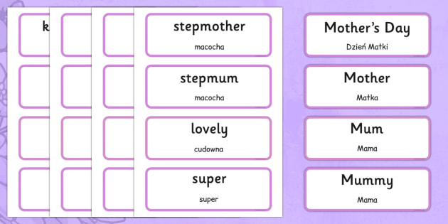 Mother's Day Word Cards Polish Translation - polish, Mother's day, cards, word card, flashcards, Mother's day activity, Mother's day resource