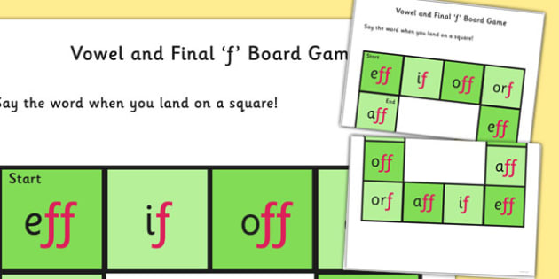 Vowel and Final 'F' Board Game - final f, sound, board game