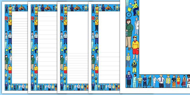 People Who Help Us Page Borders - people who help us, help, helping, police, nurse, doctor, page border, border, writing template, writing aid, writing, kind, people