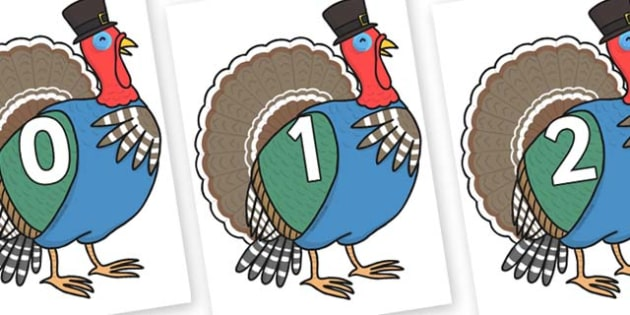 Numbers 0-50 on Turkey Lurky - 0-50, foundation stage numeracy, Number recognition, Number flashcards, counting, number frieze, Display numbers, number posters