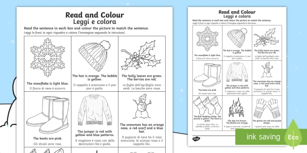 winter read and colour worksheet worksheet english italian winter read. Black Bedroom Furniture Sets. Home Design Ideas